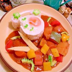がっつり野菜の塩豚トマトカレー