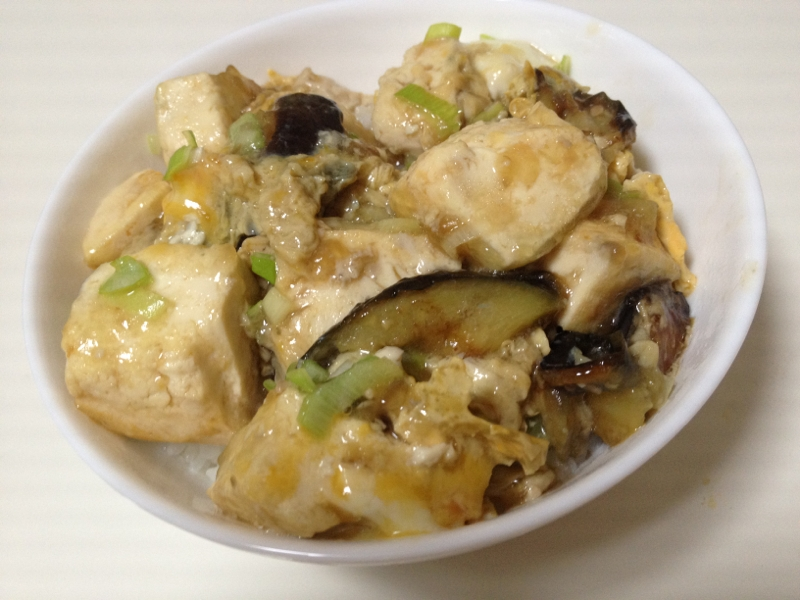 豆腐とナスの揚げ煮込みたま丼