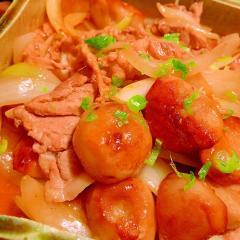 里芋と豚肉と玉葱の中華風 甘辛ぽん酢あんかけ炒め