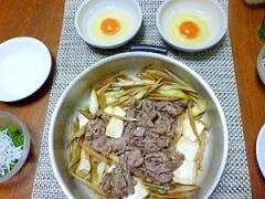 牛すき煮、ごぼうを入れて柳川風