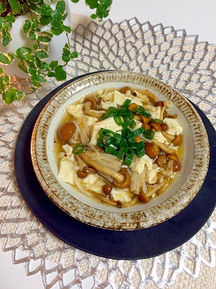 お腹に優しいヘルシー温まるキノコ餡豆腐