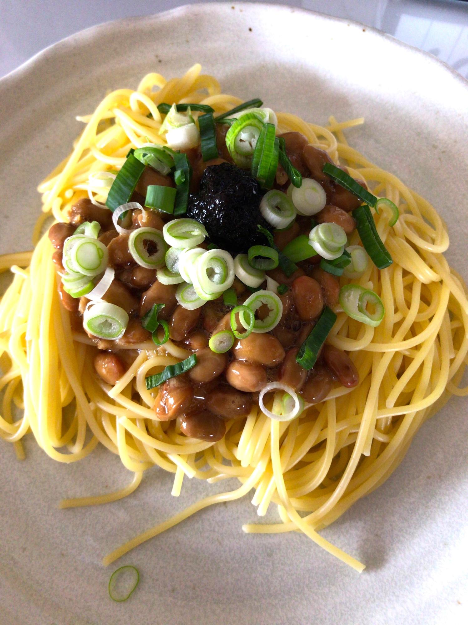 12. 海苔佃煮と納豆のパスタ