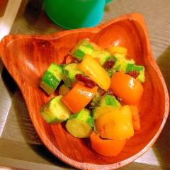ころころ胡瓜とパプリカのカラフルカレーマヨ炒め