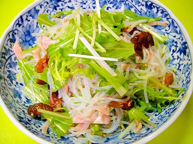 春雨とハム水菜キューちゃんのごま酢和え