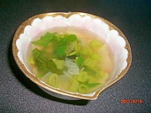 簡単カルシウム補給にわかめとほうれん草のスープ