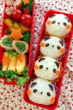 キャラ弁 簡単デコおにぎり☆パンダのおにぎり弁当♪