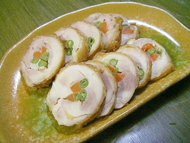 お弁当のおかずにも☆鶏肉の野菜巻照焼き