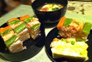 春野菜と焼鮭の押し寿司