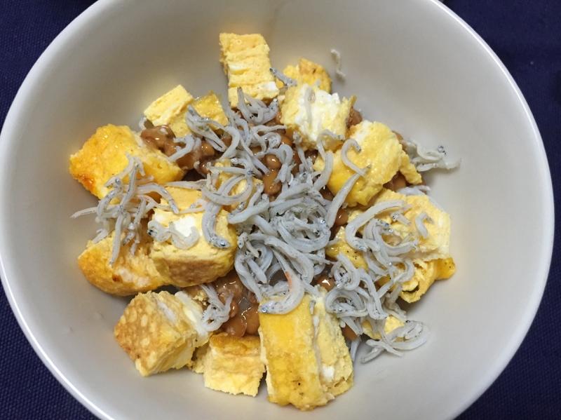 納豆と卵焼きのしらす丼