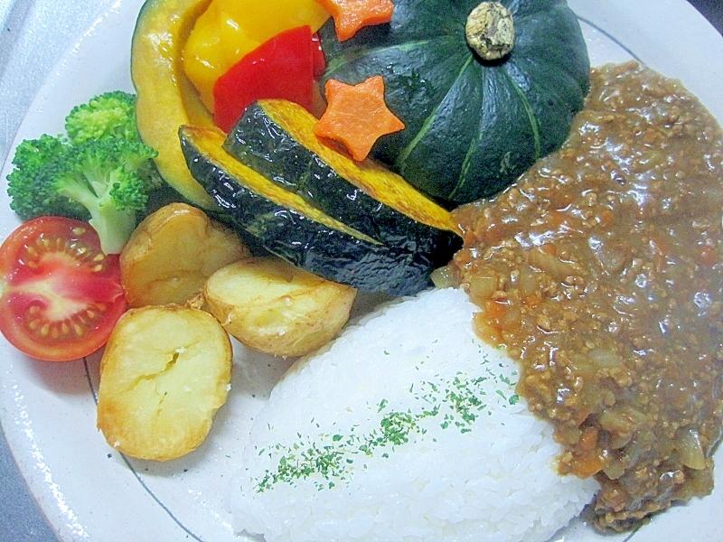 ひき肉カレーの野菜添え