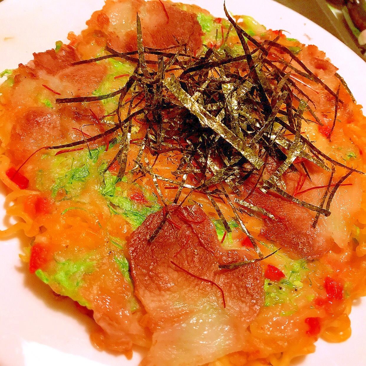 2. 韓国風豚チーズモダン焼き