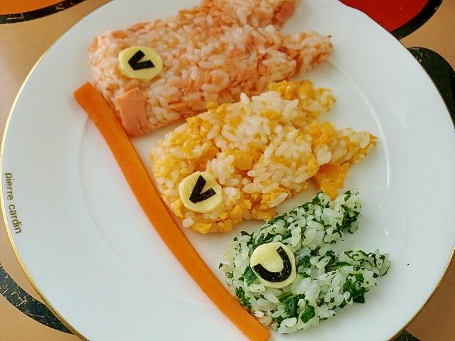 鮭・小松菜・卵の節句おにぎり♪