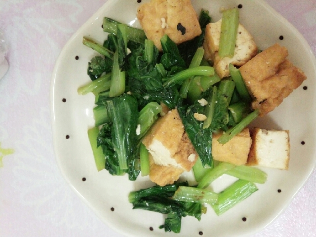 小松菜と厚揚げのバターソテー