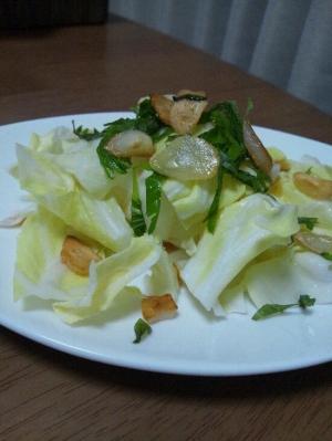 春キャベツと揚げニンニクのサラダ