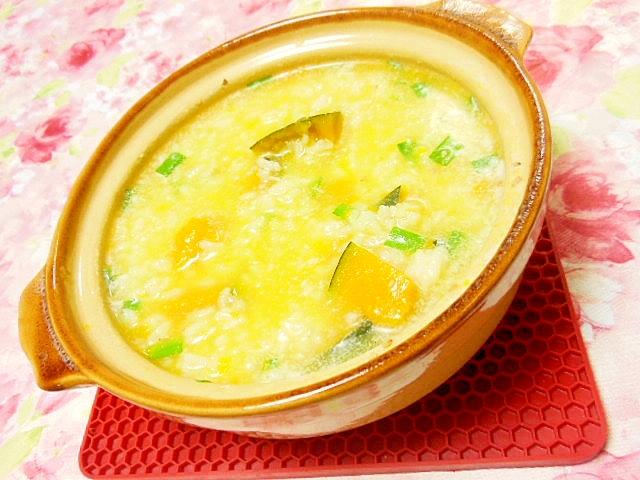 鶏ガラスープde南瓜と韮と刻み生姜のお粥さん