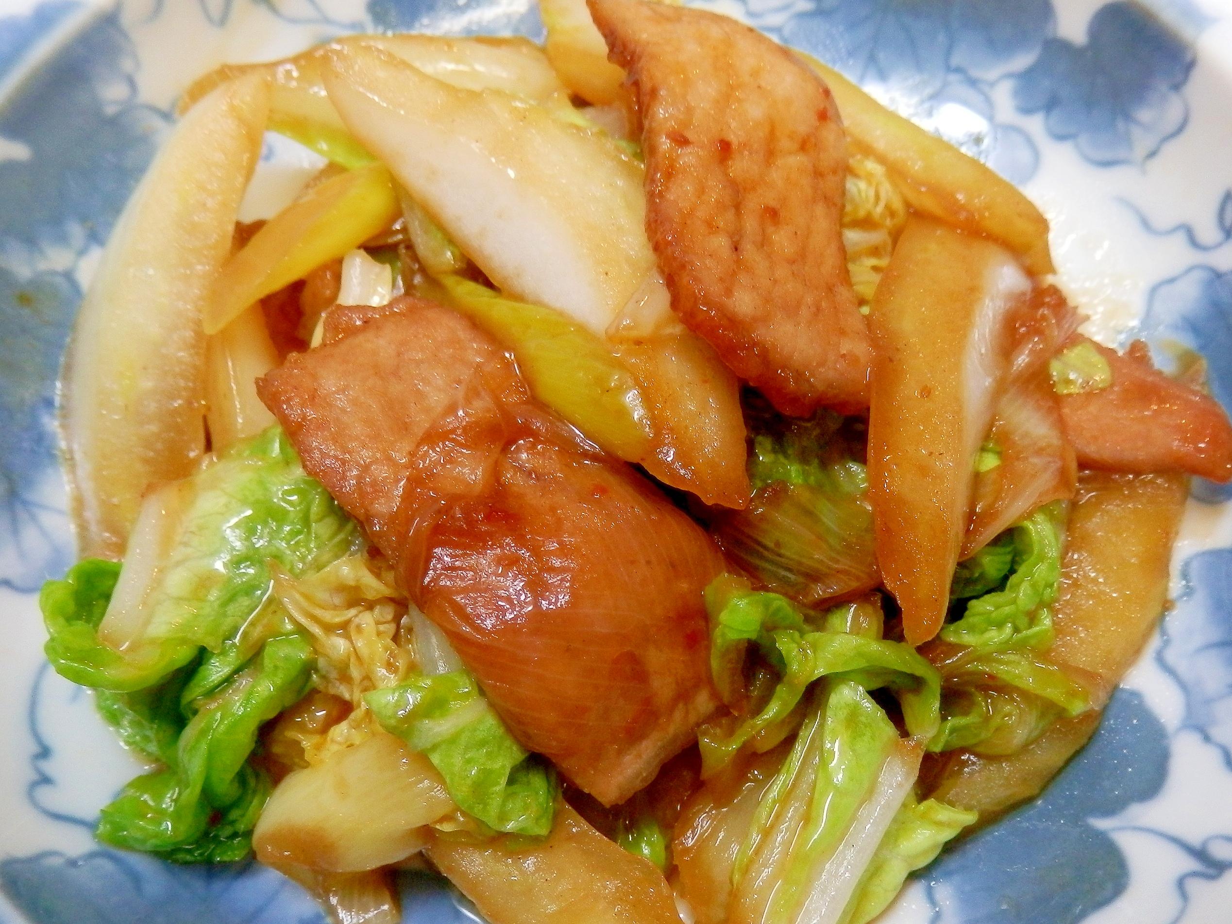 ハクサイのピリ辛ホイコーロー・(白菜回鍋肉)