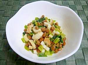 鉄分たっぷり♪納豆と小松菜とちくわの和え物
