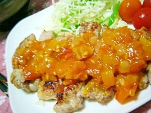 作り置きトマトソースで(/・ω・)/豚ソテー☆