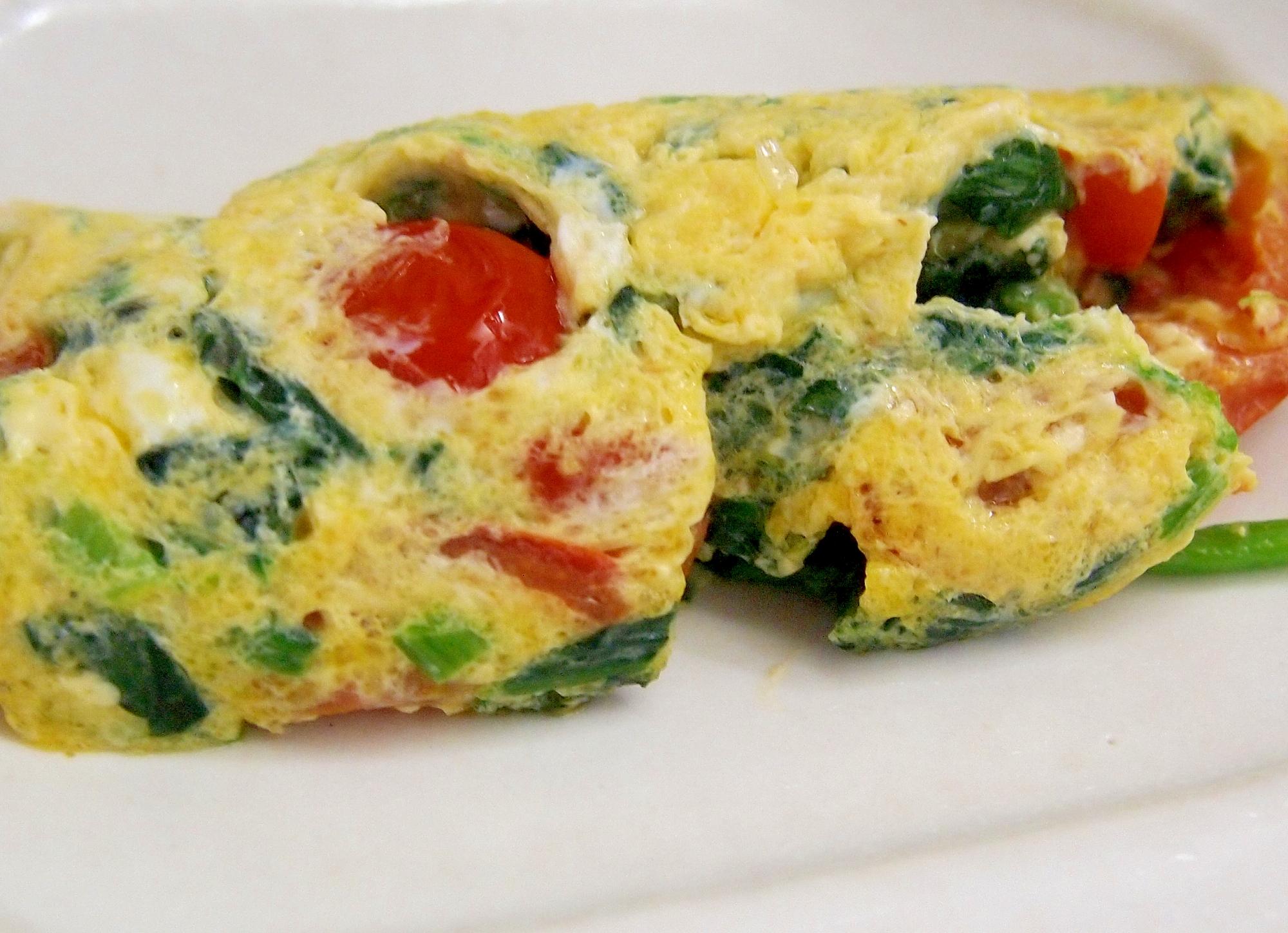 ほうれん草とミニトマトのオムレツ レシピ・作り方 by まるっとまる|楽天レシピ