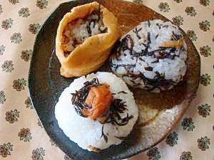 生姜のひじき煮を使った3種のおにぎり