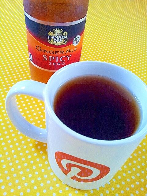 ジンジャーエールで生姜の紅茶サイダー