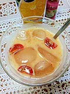 アイス☆トマト&グレフルのシナモンきなこミルク♪