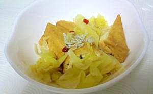 揚げ豆腐とキャベツのピリカラ洋風煮