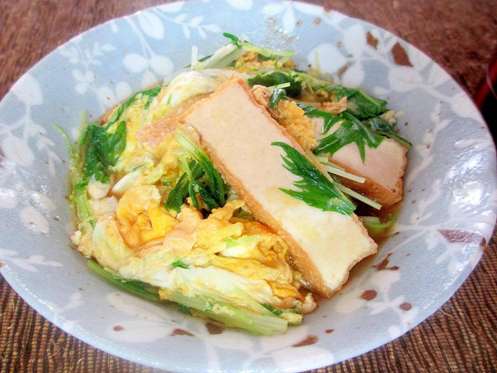 厚揚げと水菜の卵とじ