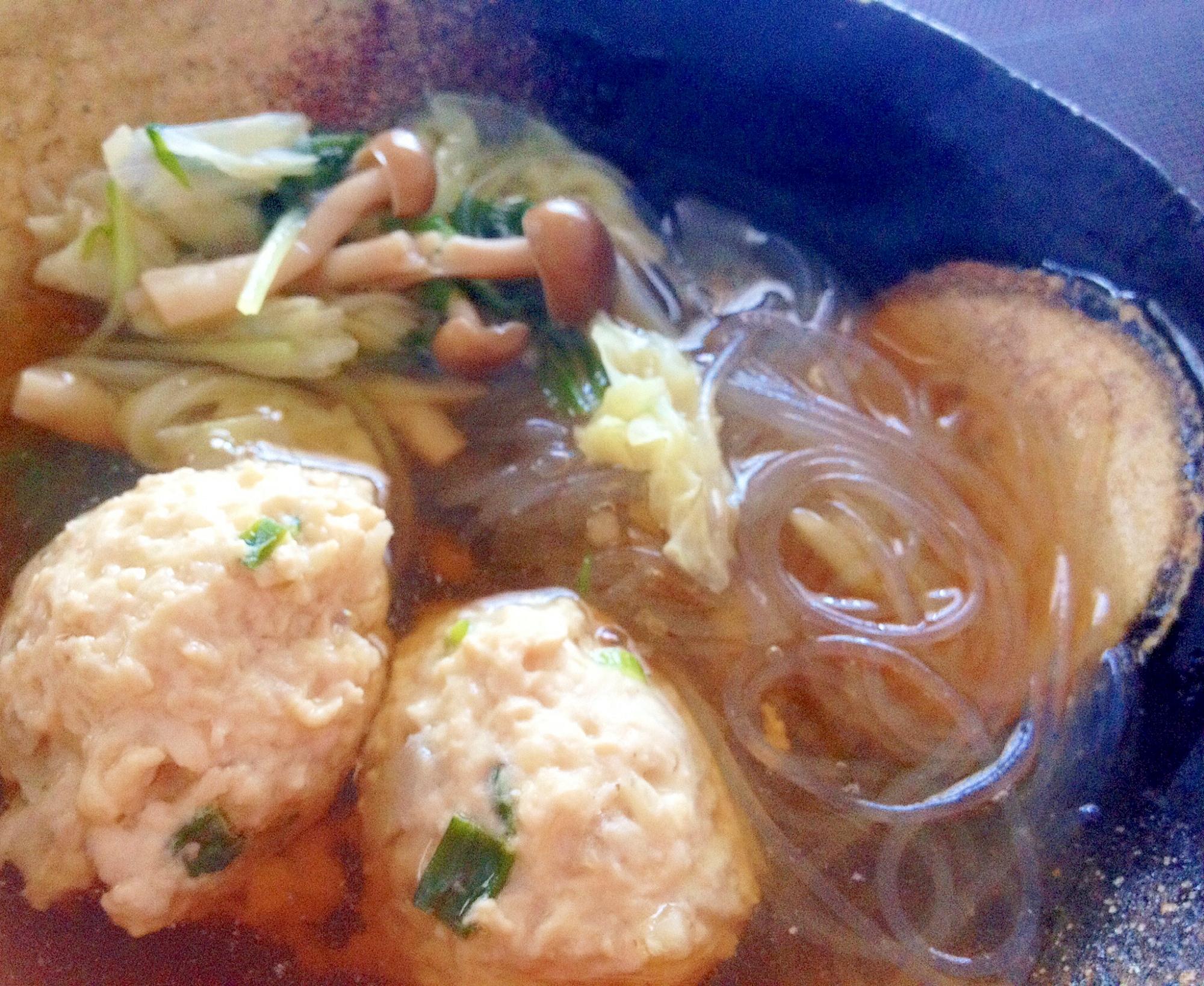 生姜&塩レモン入り「れんこん鶏つくねの春雨スープ」
