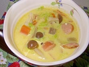カレー味の豆乳スープ