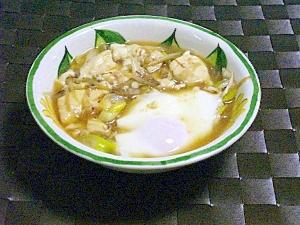 リメイク*残った煮物の汁で落とし卵と豆腐煮*