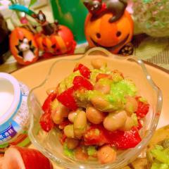 お豆とアボカドのパセリ風味サラダ