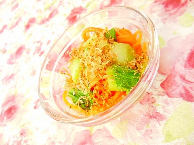 寿司酢で簡単青梗菜と人参と花小海老の小鉢