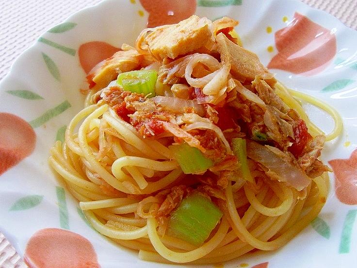 5. 大根とツナのトマトパスタ