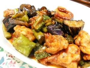 鶏と夏野菜の甘辛炒め