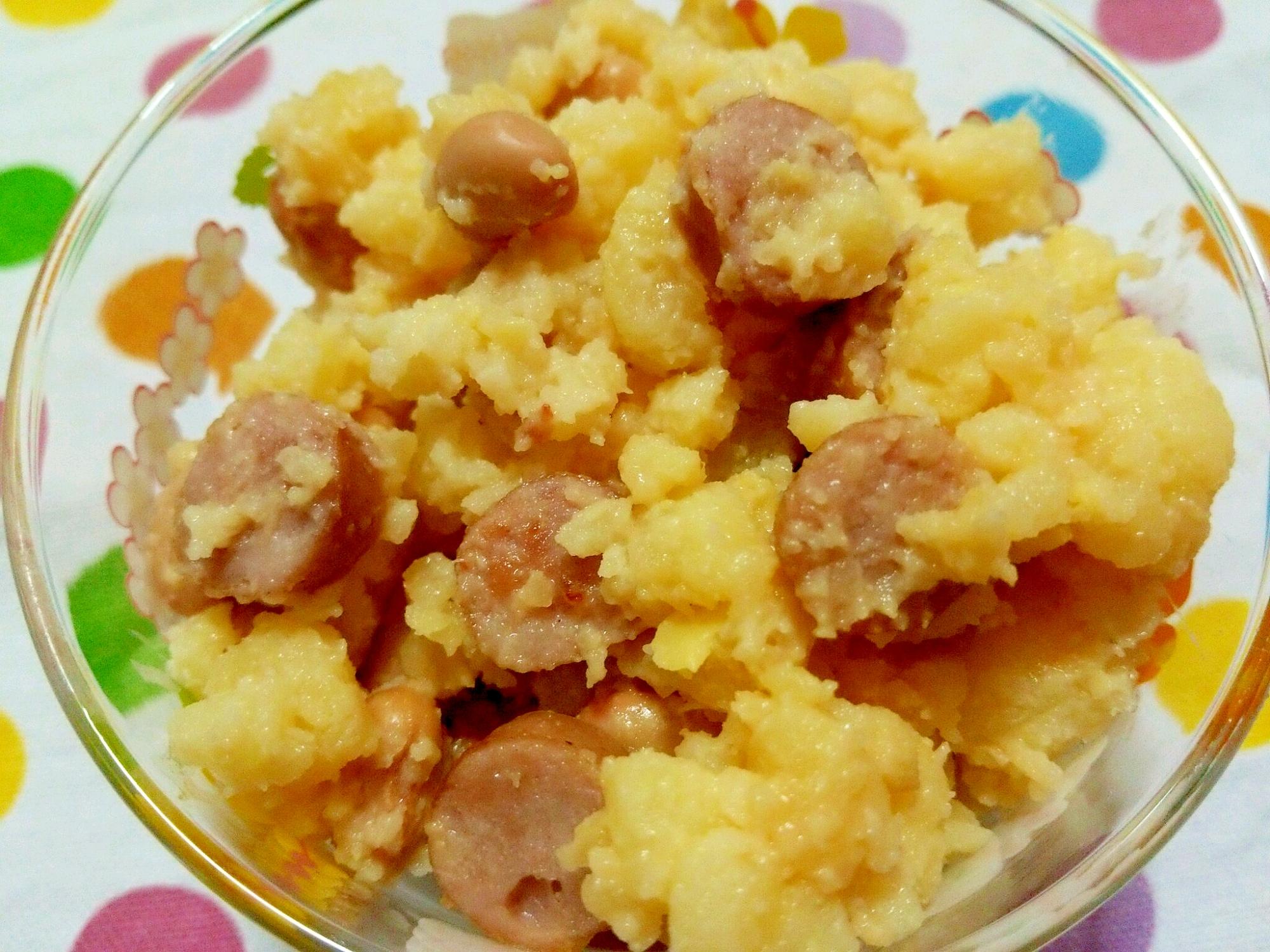 大豆とウインナーの味噌マヨポテサラ