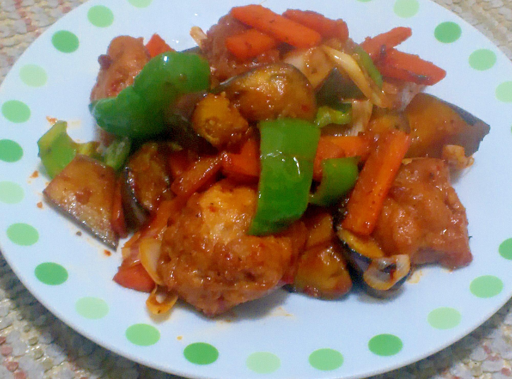 唐揚げリメイク!鳥と彩り野菜のオイスターソース炒め
