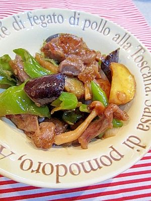 鶏砂肝と夏野菜のガーリックポン酢ソテー