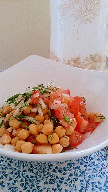 ひよこ豆とトマトの粒マスタード&ディルサラダ