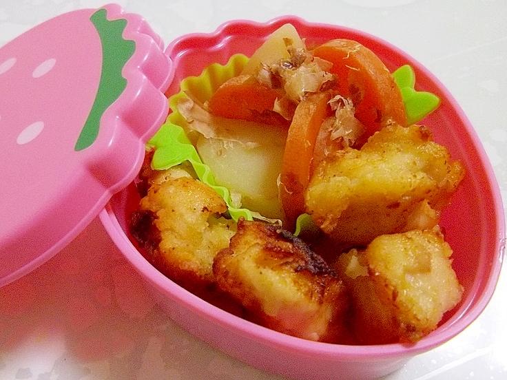 鶏胸肉の醤油麹唐揚げと野菜のおかか和え弁当