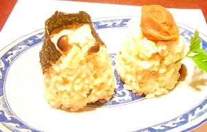 松茸の香りのキノコご飯で雛人形