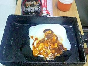 目玉焼きの黄身チョコレートソース