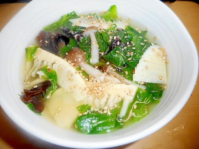 5. だくさん!レタスとたけのこの中華風スープ