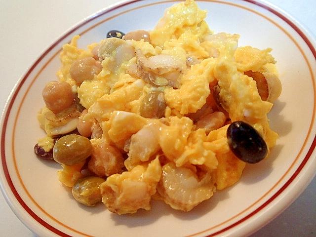 ベビーホタテとサラダ豆の卵とじ