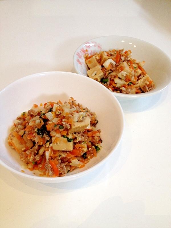 高野豆腐のひき肉と長芋の炒り煮