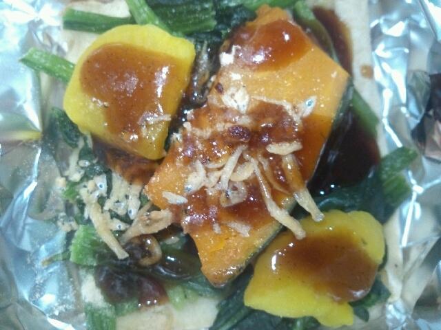 ワッフル(ミックスナッツ)+ほうれん草&かぼちゃ