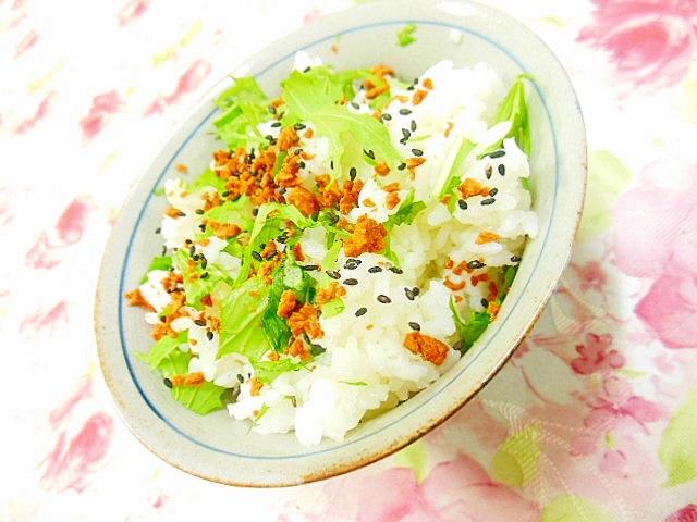 水菜とベーコンビッツのガリバタ・混ぜご飯