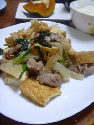 豚肉と厚揚げのマヨポン炒め