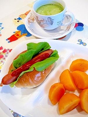 ホットドッグの朝食♪