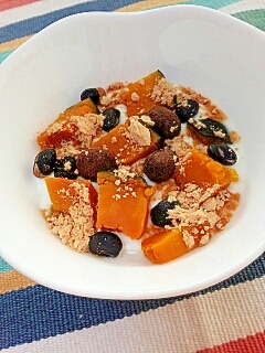 お腹に優しく☆かぼちゃと黒大豆のヨーグルト♪